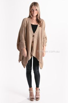 york st. sleeved poncho - brown