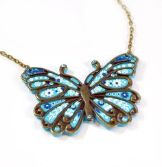 Ready to ship!- Butterfly Turquoise Pendant Applique - Polymer clay jewelry - Romantic Jewelry -  Butterfly necklace