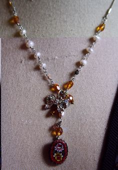 Tart and Rose Vintage Micro Mosaic Necklace