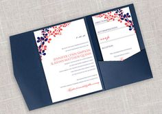 DiY Pocket Wedding Invitation Template Set - Instant DOWNLOAD - EDITABLE TEXT - Exquisite Vines (Navy & Dk. Coral)  - Microsoft® Word Format