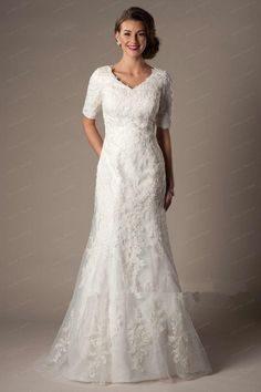 Modest Custom Made A Line Wedding Dresses Long Bridal Gown V Neck With 1/2 Half Sleeves Lace Applique on Tulle Satin Lining Zi-in Wedding Dresses from Weddings & Events on Aliexpress.com | Alibaba Group