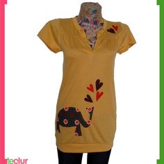 SALE In love Elephant Blouse Mustard Yellow by teclur on Etsy - StyleSays