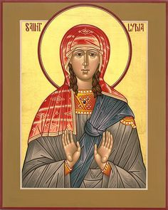 Saint Lydia Purpuria of Thyatira century) - Paul's first convert at Philippi, she was baptized with her household, and Paul stayed at her home there. Matthew Garrett, Roman Church, Pentecost, Orthodox Christianity, 1st Century, Icon Collection, God Loves Me, Orthodox Icons, Catholic
