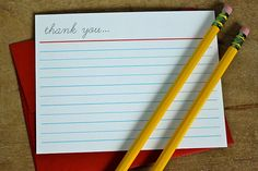 free printable: school notebook paper-inspired thank you note