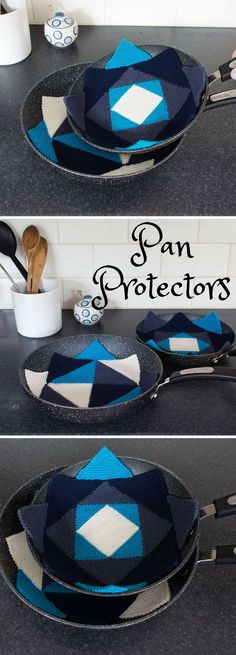 These Diamond Pan Protectors are a great way to protect your pots and pans  against scrapes and scratches while brightening up your cupboards!