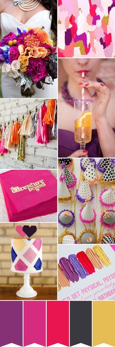 pink purple gold wedding colour palette