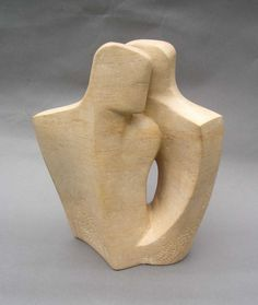Ancaster stone Figurative Abstract sculpture by artist John Brown titled: 'Duo 1 (stone lovers modern abstract statues)'