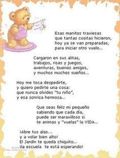 Verso de despedida para ninos. Fin de la escuela. End of year poem-- Spanish