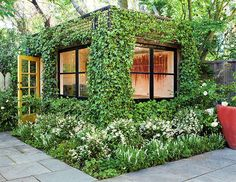 We'd love to work in this serene outdoor oasis!