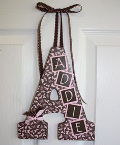Custom Wall Letter Brown with pink butterflies by inspiremecrafts