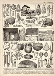 1897 Prehistoric Artifact Antique Print Vintage Lithograph Illustration Préhistorique Larousse Prehistoric Art Ceramic Stone Tool Archeology