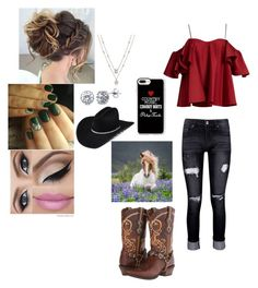 """""""You Can Take The Girl Out of The Country But You Can't Take The Country Out of The Girl"""" by cherylkinberg97 ❤ liked on Polyvore featuring Boohoo, Anna October, Durango, Casetify, BERRICLE, country, cowboyboots, horses, countrygirl and cowboyhat"""