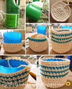 Agulhas e Pinceis: Cachepô de crochê Needles and Brushes: Crochet Cache (Visited 19 times, 1 visits today) Crochet Diy, Crochet Bowl, Crochet Storage, Crochet Basket Pattern, Crochet Crafts, Yarn Crafts, Crochet Projects, Crochet Patterns, Crochet Baskets