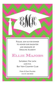 When your kid is graduating from high school or from college, that's something that you want to announce. This Flamingo Grad Invitation is personalized and custom printed for you. Choose this grad invite to throw them a graduation party. Graduation Celebration, Graduation Party Invitations, Chevron Invitations, Invitation Design, College Graduation, Graduation Ideas, Graduation 2015, Graduation Announcements, Grad Parties