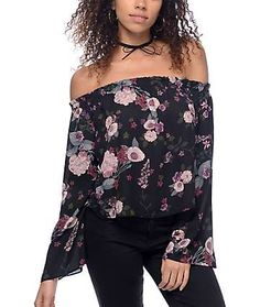 Love, Fire Susie Off The Shoulder Black Floral Top