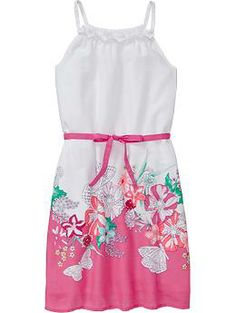 Girls Printed Tie-Belt Sundresses this or blue