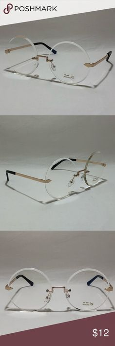 Gold Rimless Clear Lens Circle Glasses Test Accessories Sunglasses