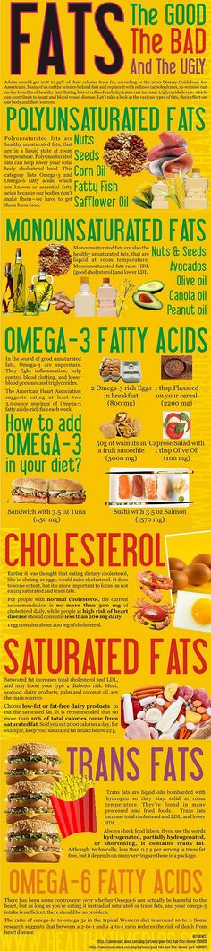 The One Food Cholesterol Cure - FATS: Good, Bad Ugly - INFOGRAPHIC The One Food Cholesterol Cure: reveals one single ingredient responsible for all cholesterol plaque buildup in your arteries. And how to completely eliminate it without medications. Nutrition Tips, Health And Nutrition, Health Tips, Health And Wellness, Health Fitness, Nutrition Plans, Nutrition Education, Fitness Tips, Healthy Fats