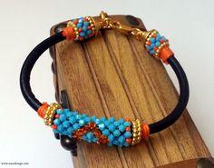 Beaded Bracelet  Beaded Crochet Bracelet  Swarovski by NazoDesign