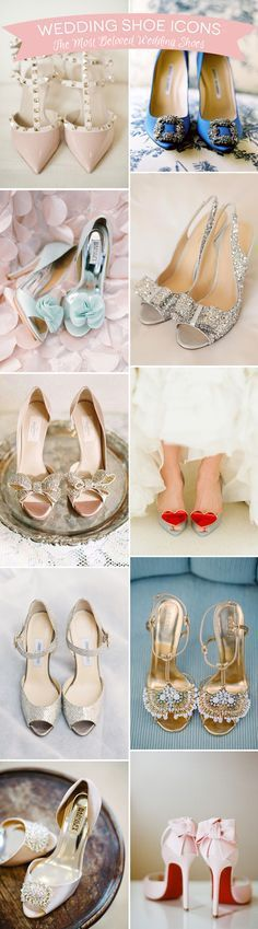 The most beautiful and iconic wedding shoes EVER! The 11 Best including Badgeley Mischka, Christian Louboutin, Gucci, Vivienne Westwood, Jimmy Choo  | www.onefabday.com