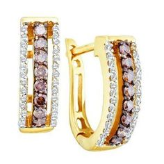 1/2 Carat Chocolate & White Diamond 14k Yellow Gold Fashion Earrings Sea of Diamonds. $550.00. Setting: Pave - Prong. Metal Finish: Polished. Metal: 14k Yellow Gold. Measurement: Approx 1 inch. Backing: Lever. Save 53%!