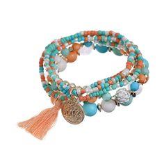 Women's Fashion Tassel Boho Style Multilayer Beaded Bracelet