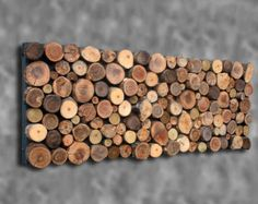 18x48  Random 9 Specie Textured Rustic Tribal Tree Branch Wall Art Wall Sculpture cherry elm walnut maple hickory oak ash aspen CUSTOM MADE