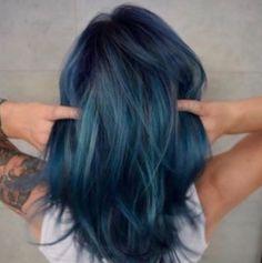 Denim blue with teal hair