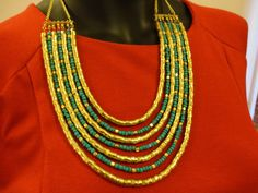 Handmade Blue and Gold Beads Layered Necklace by OMyGlam on Etsy