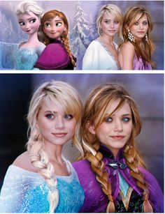 The Olsen twins are Elsa and Anna! She is always asking me who is the real Elsa and Anna and all I can tell her is the people who play them. But the Olsen twins look almost exactly like them! Disney Pixar, Disney And Dreamworks, Disney Magic, Disney Frozen, Disney Art, Disney Movies, Frozen Pics, Dark Disney, Elsa Frozen