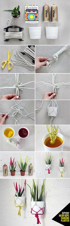 DIY rope hanging planters.
