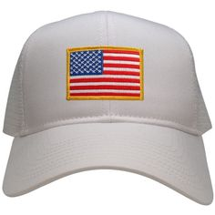 USA American Flag Embroidered Patch Snapback Mesh Trucker Cap - WHITE  (30-287-WHITE) cbdbb6afa00