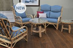 Rio , Chair, Sofa, Coffee Table, Side Table , Fabric - Sky with optional Raspberry & Knebworth Stripe scatter cushions
