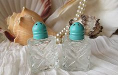 Mini Sea Side Green Crystal Glass Salt and Pepper by happybdaytome, $12.00