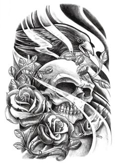Grashine Halloween Tattoo for men and women black and white skull and roses temporary tattoo stickers * Check this awesome product by going to the link at the image. (This is an affiliate link and I receive a commission for the sales) Fake Tattoos, Skull Tattoos, Trendy Tattoos, Sleeve Tattoos, Tattoos For Guys, Cool Tattoos, Temporary Tattoos, Half Sleeve Tattoo Stencils, Skull Candy Tattoo