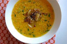 red lentil soup with lemon and caramelized onion #soup #lentil