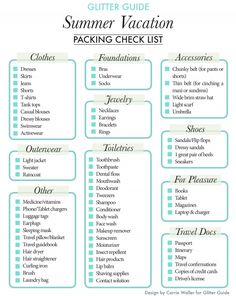 Glitter Guide Summer Packing List--- something I would love to do one day...... be organised for once!
