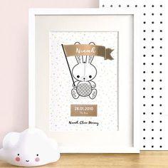 Personalised Bunny Metallic Foil Nursery Print MAIN