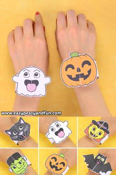 These printable Halloween bracelets for kids will be a huge crafting hit in your home or in the classroom! These printable Halloween bracelets for kids will be a huge crafting hit in your home or in the classroom! Halloween Tags, Halloween Arts And Crafts, Paper Crafts For Kids, Halloween Activities, Crafts To Do, Preschool Crafts, Diy For Kids, Vintage Halloween, Decor Crafts