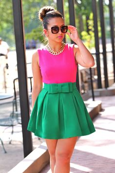 "pink and green #colorblock   #thick   #curvy  ""if you follow my Curvy Girl's Spring/Summer Closet, make sure to follow my Curvy Girl's Fall/Winter Closet.""   http://pinterest.com/blessedmommyd/curvy-girls-fallwinter-closet/"