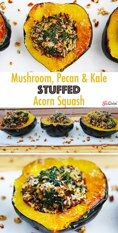 Mushroom Pecan & Kale Stuffed Acorn Squash #recipe #fall #vegetarian