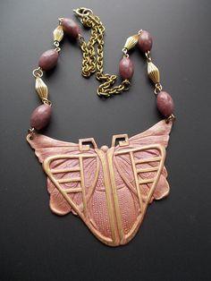 Big Bold Chunky Necklace  Craftsman Style Moth by LilisGems
