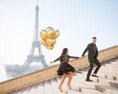 One more fun balloon action photo from Hoda and Matt's engagement photo session in Paris #parisphotographer #parisengagement #eiffeltower
