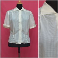Vintage blouse 1950s shirt style top 50s by VintageGreenClothing, £24.99
