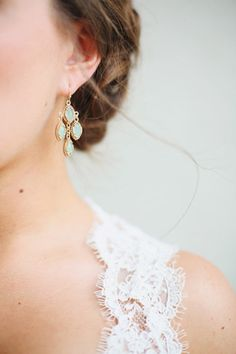 Wedding Jewelry - Delicate Drop Earrings for the Bride Go Nicely with the Lace Dress