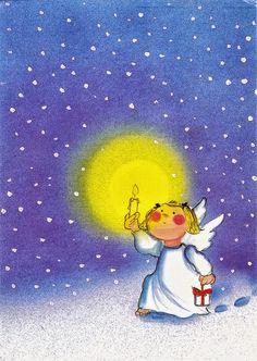 Jouluyön kulkija Christmas Angels, Christmas Art, Interactive Projection, Soul Collage, I Believe In Angels, Good Night Moon, Angel Pictures, Angels In Heaven, Xmas Crafts