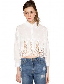 White Lace Hem Blouse - Pretty Lace Shirt - Crop Tops - $79