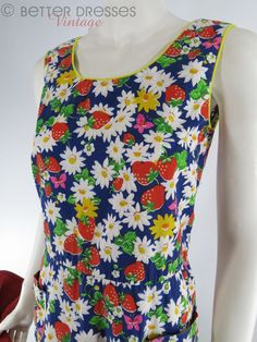 Vintage 1960s or 70s Maxi Dress With Strawberries by BeeDeeVintage, $40.00