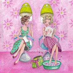 © Cartita Design, beauty salon, hair dresser, girls, best friends, pink, flowers, illustration, greeting card, edition gollong gmbh
