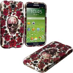 """Amazon.com: myLife (TM) Dark Skull and Roses Series (2 Piece Snap On) Hardshell Plates Case for the Samsung Galaxy S4 """"Fits Models: I9500, I..."""